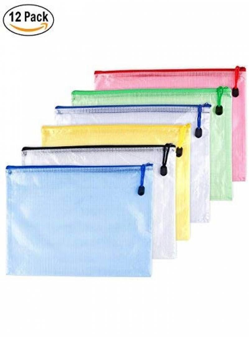 10pcs Chemise Paquet Portefeuille Pochette en PVC Zip Document Dossier //PVC School Office A3 Magazine Document File Zippy Closure Folder Holder Bag A3-Jaune