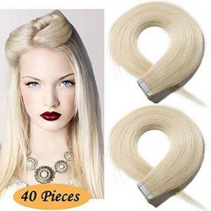 """16""""(40cm) 40pcs Extension Adhesive Naturel [2.5g * 40 Mèches ][ Blond Platine ] Comme Vos Propres Cheveux de la marque Lady Outlet Mall image 0 produit"""