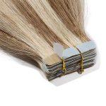 55cm Extension Cheveux Naturel Adhesif Bande Adhesive 100% Cheveux Humain Remy Tape in Human Hair Extensions 20 Pcs, #12+613 MARRON CLAIR MECHE BLOND CLAIR de la marque UK-Fashion-Shop image 3 produit