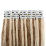 55cm Extension Cheveux Naturel Adhesif Bande Adhesive 100% Cheveux Humain Remy Tape in Human Hair Extensions 20 Pcs, #12+613 MARRON CLAIR MECHE BLOND CLAIR de la marque UK-Fashion-Shop image 4 produit