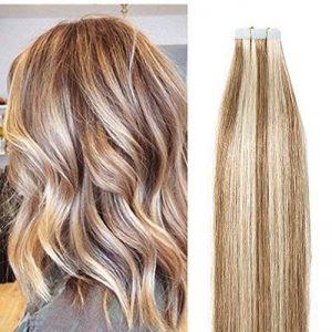 55cm Extension Cheveux Naturel Adhesif Bande Adhesive 100% Cheveux Humain Remy Tape in Human Hair Extensions 20 Pcs, #12+613 MARRON CLAIR MECHE BLOND CLAIR de la marque UK-Fashion-Shop image 0 produit