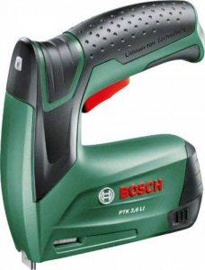 Bosch 0603968100 Agrafeuse sans Fil PTK 3,6 LI avec Boîte en Métal, 1000 Agrafes (Type 53, Longueur 8 mm) et Chargeur de la marque Bosch image 0 produit