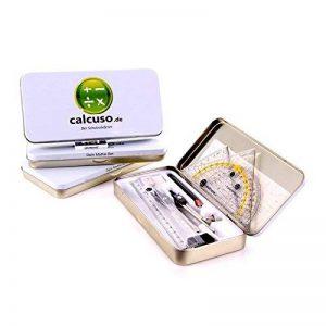 Calcuso Kit 10pièces de géométrie comprenant compas, équerre-rapporteur etc. dans une boîte en métal de la marque Calcuso image 0 produit