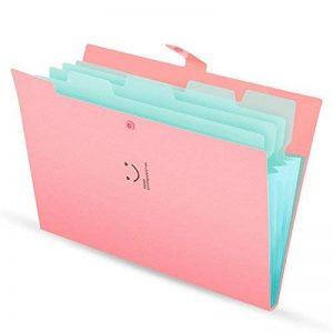 Classeur et trieur à documents format A4 en Polypropylène (PP) avec 5 compartiments imperméable, souple, et légère, fournitures de bureau et de scolaires en pink de la marque KONVINIT image 0 produit
