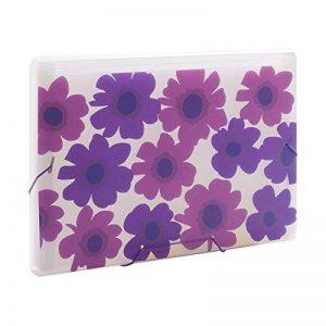 Comix Trieurs à soufflet 13 Compartiments A4 Motif de fleurs d'été -A1361 ( Violet ) de la marque Comix image 0 produit