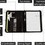 Conférencier classeur RFID zippé, organiseur a4 document professionnel, portfolio cuir noir – Rangement bureau porte-document, porte cartes de visite a4, papier de réunion, stylo, bloc-notes de la marque AmazingStuffs image 2 produit