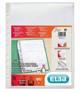 Elba - 100207008-10 Pochettes Perforées Capacité Extensible avec Rabat de Protection Polypropylène Lisse A4 Incolore de la marque Elba image 0 produit