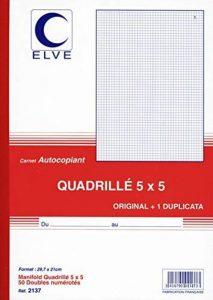 ELVE 22386 Manifold Autocopiant Imprimés A4 210x297mm Quadrillage 5x5mm Foliotage 50 Duplis Assorties de la marque Elve image 0 produit