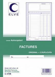 ELVE 22391 Manifold Autocopiant A4 2 10x297mm Foliotage 50 Triplis Imprimés Factures Assorties de la marque Elve image 0 produit