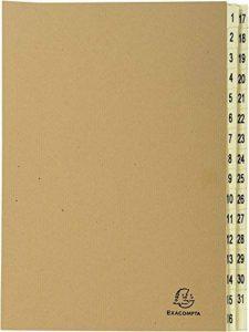 EXACOMPTA 22219E - Un Trieur de 31 Compartiments gamme FOREVER 25x33 cm en kraft brun - onglet numérique de 1 à 31 de la marque Exacompta image 0 produit