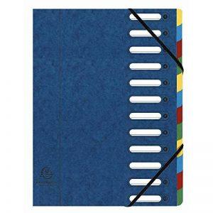 Exacompta - Réf. 55122E - Trieur HARMONIKA à fenêtres avec élastiques carte lustrée 12 compartiments - bleu de la marque Exacompta image 0 produit