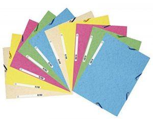 Exacompta - Réf. 55550E - Lot de 10 chemises 3 rabats à élastiques carte lustrée 400g/m2 - A4 - couleurs assorties pastel de la marque Exacompta image 0 produit
