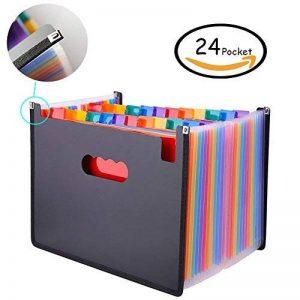 Expanding File Folder – GossipBoy Grande Plastique Rainbow Trieur Extensible Self Debout Accordéon Document A4 Fichier Wallet Briefcase Business Boite de Classement – 24 Poches (C1) de la marque GossipBoy image 0 produit