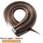 Extension Adhesive Cheveux Naturel 40 Pcs Bande Adhesive Extension Rajout Cheveux Humain - Remy Human Hair Tape In Hair Extensions (#4+27 MARRON CHOCOLAT MECHE BLOND FONCE, 40CM - 100g) de la marque Elailite image 2 produit
