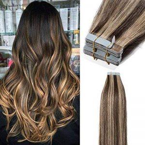 Extension Adhesive Cheveux Naturel 40 Pcs Bande Adhesive Extension Rajout Cheveux Humain - Remy Human Hair Tape In Hair Extensions (#4+27 MARRON CHOCOLAT MECHE BLOND FONCE, 40CM - 100g) de la marque Elailite image 0 produit