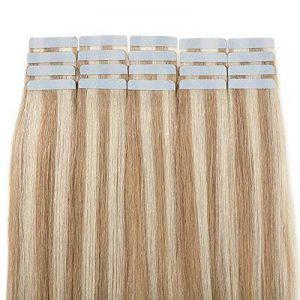 Extension Adhesive en Cheveux Naturel Bande Adhesive 20 Pcs - Tape in Human Hair Extensions - #18+613 Sable blond Méché Blond très clair - 18 Pouces/45cm de la marque Rich Choices image 0 produit