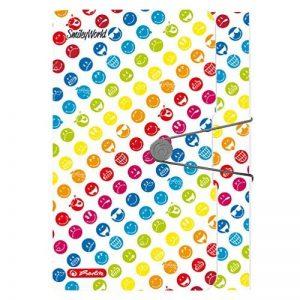Herlitz 50002085 un trieur avec 12 compartiments - avec élastique en caoutchouc et emplacement pour carte de visite Motif : Smiley World Rainbow de la marque Herlitz image 0 produit