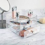 InterDesign Drawers organisateur de maquillage, boîte de rangement en plastique pour make-up & Cie, boîte à tiroir avec 2 tiroirs, transparent de la marque InterDesign image 1 produit