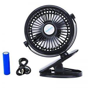 JJLng Ventilateur Personnel Mini-Clip Rechargeable, 4 pouces 3 vitesses, USB Alimenté par NetBook, ordinateur MacBook, Power Bank et PC, 360 ° haut et bas, gauche et droite (noir) de la marque JJLng image 0 produit