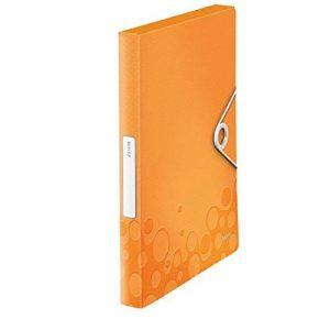 Leitz Boîte de Classement A4, Capacité 250 Feuilles, Dos 3 cm, Fermeture Elastique, Orange Métallisé, WOW, 46290044 de la marque Leitz image 0 produit