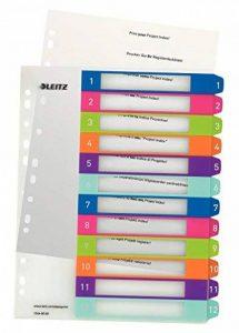 Leitz Intercalaires, Onglets 1-12, A4, Personnalisable et imprimable, Plastique Résistant, Extra-Large, Blanc/Multicolore, WOW, 12440000 de la marque Leitz image 0 produit