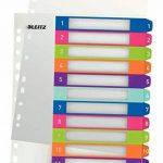 Leitz Intercalaires, Onglets 1-12, A4, Personnalisable et imprimable, Plastique Résistant, Extra-Large, Blanc/Multicolore, WOW, 12440000 de la marque Leitz image 2 produit