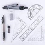 Math Géométrie kit de Lot de 8pièces Student Fournitures avec boîte de rangement incassable, comprend des règles, rapporteur, Compas, Mines, crayon, gomme.. pour les étudiants et les dessins d'ingénierie de la marque MeetUs image 2 produit
