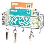 mDesign boîte à clés avec surface de rangement – boîte a clés murale polyvalente en métal pour l'entrée, la cuisine ou le bureau – avec un range-courrier – couleur chrome de la marque MetroDecor image 2 produit