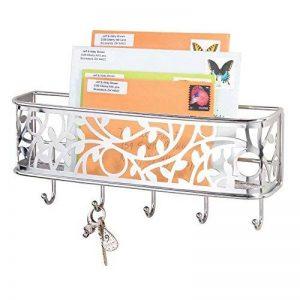 mDesign boîte à clés avec surface de rangement – boîte a clés murale polyvalente en métal pour l'entrée, la cuisine ou le bureau – avec un range-courrier – couleur chrome de la marque MetroDecor image 0 produit