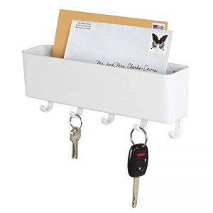 mDesign porte-courrier mural et porte clé mural – pour le rangement de vos clefs, lettres et brochures – porte lettre pour l'entrée – en plastique – blanc de la marque MetroDecor image 0 produit