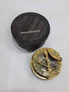 nautique objets de collection Laiton Cadran solaire Boussole avec boîte en cuir de la marque THORINSTRUMENTS image 0 produit