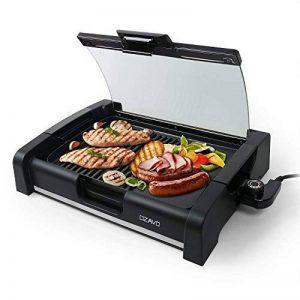 OZAVO Plancha Revêtement Barbecue de Table Électrique Anti-Adhésive Thermostat Amovible Pare-brise Amovible 1650W, Noir de la marque OZAVO image 0 produit
