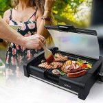 OZAVO Plancha Revêtement Barbecue de Table Électrique Anti-Adhésive Thermostat Amovible Pare-brise Amovible 1650W, Noir de la marque OZAVO image 4 produit