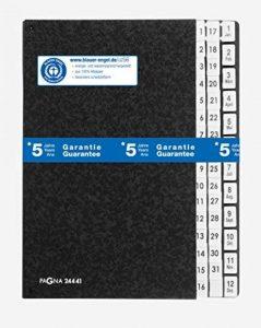 Pagna 24441-04 Classeur à soufflet 44 compartiments 1-31 + 1-12 (Jan-Déc) en carton spécial avec 3 trous (Noir) de la marque Pagna image 0 produit