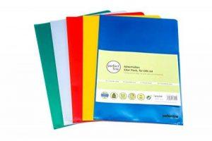 perfect line 50 pochettes coin colorées, format A4, ouverture en coin, pochettes plastiques colorées, idéales pour protéger papiers et documents de la marque perfect line image 0 produit