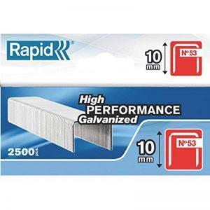 Rapid, 11858825, Agrafes en fil fin N°53, Longueur 10mm, 2500 pièces, Pour le textile et la décoration, Fil galvanisé, Haute performance de la marque Rapid image 0 produit