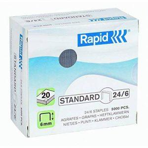 Rapid - 24859800 - Agrafes Standard 24/6, Longueur 6 mm, 5000 Agrafes, Agrafe jusqu'à 20 feuilles, Fil flexible galvanisé - Modèle aléatoire de la marque Rapid image 0 produit
