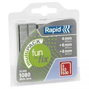 Rapid, 40108715, Agrafes Multipack, Longueur 4-8mm, 1080 pièces, Pour le textile et la décoration, Fil galvanisé, Haute performance de la marque Leitz image 0 produit