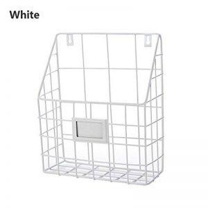 ShouYu En fer forgé Wall Mounted étagère simple salon journal panier porte-revues panier de rangement boîtes rangement (blanc, 25 * 10 * 30cm) de la marque ShouYu image 0 produit