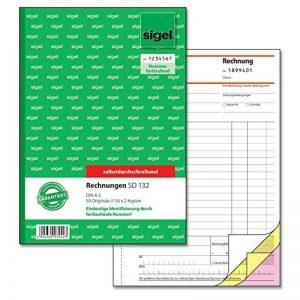 Sigel formulaires–factures A5 Manifold de factures numérotées, 2 feuillets, 1 bloc 1 Stück de la marque Sigel image 0 produit