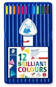 Staedtler Ergosoft 157, Crayon de couleur avec sytème anti-casse, Pour coloriage enfant et adulte, Set de 12 couleurs lumineuses, mine douce 3 mm, 157 SB12 de la marque Staedtler image 0 produit