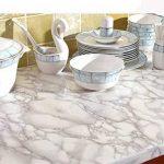 WDragon Revêtement autocollant en vinyle pour plan de travail de cuisine Motif marbre Blanc/gris 30,5x 200,7cm de la marque WDragon image 2 produit